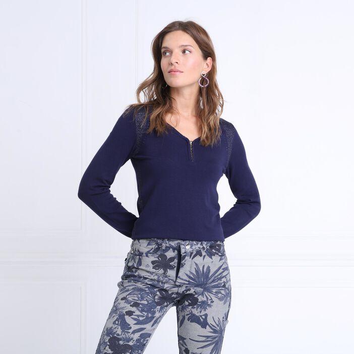 Pull manches longues col en V bleu marine femme