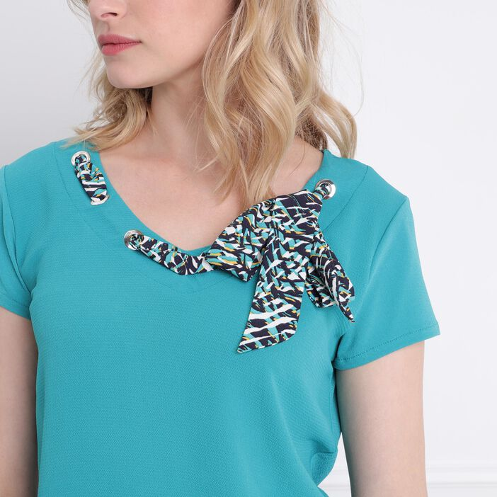 T-shirt manches courtes vert turquoise femme