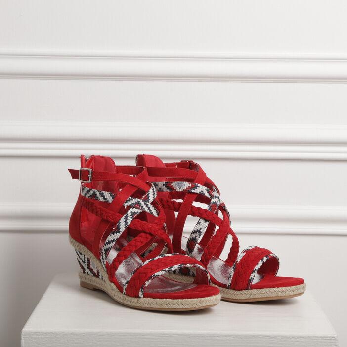 Sandales à talons bimatière rouge femme