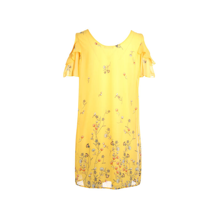 Robe courte droite à volants jaune femme