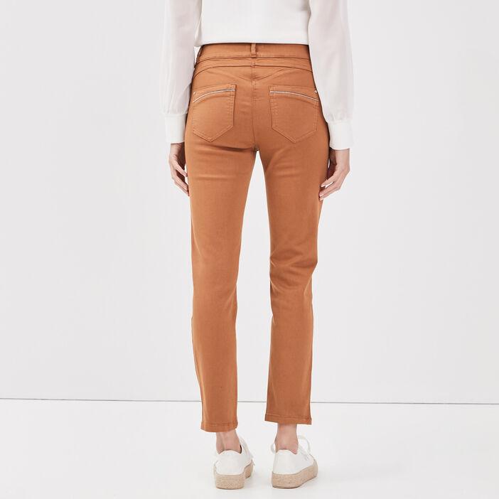 Pantalon ajusté taille haute marron clair femme