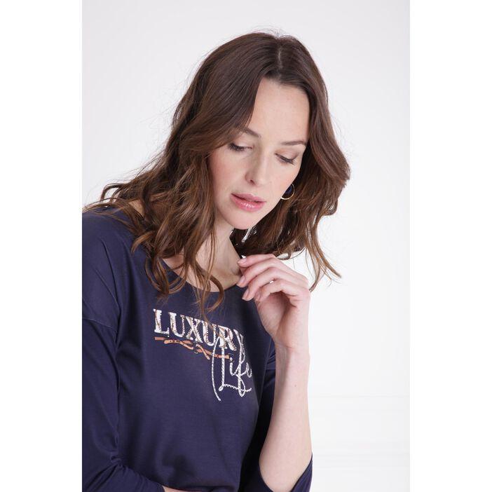 T-shirt manches 3/4 strass bleu foncé femme