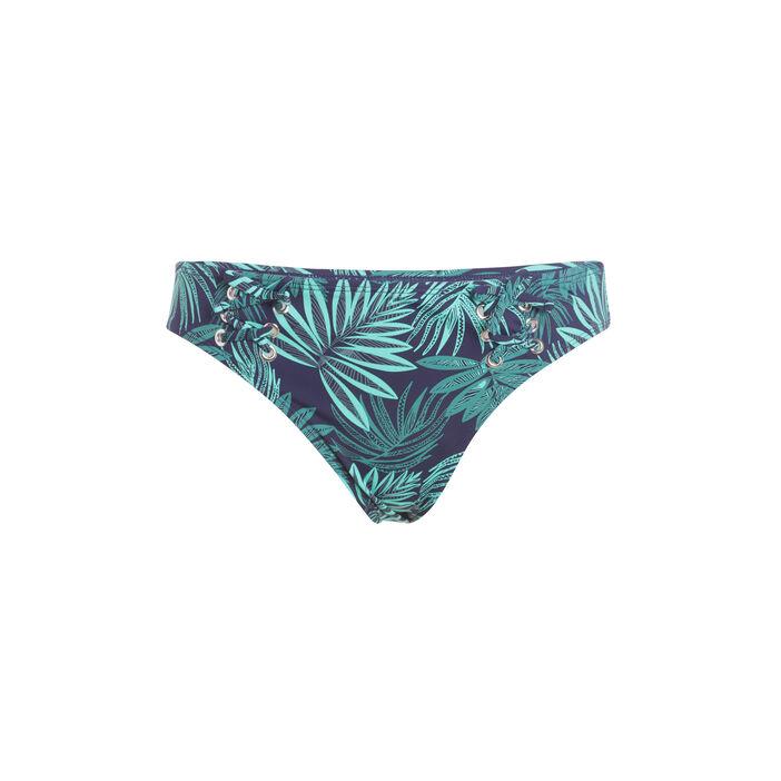 Bas de maillot de bain imprimé palmes bleu foncé femme