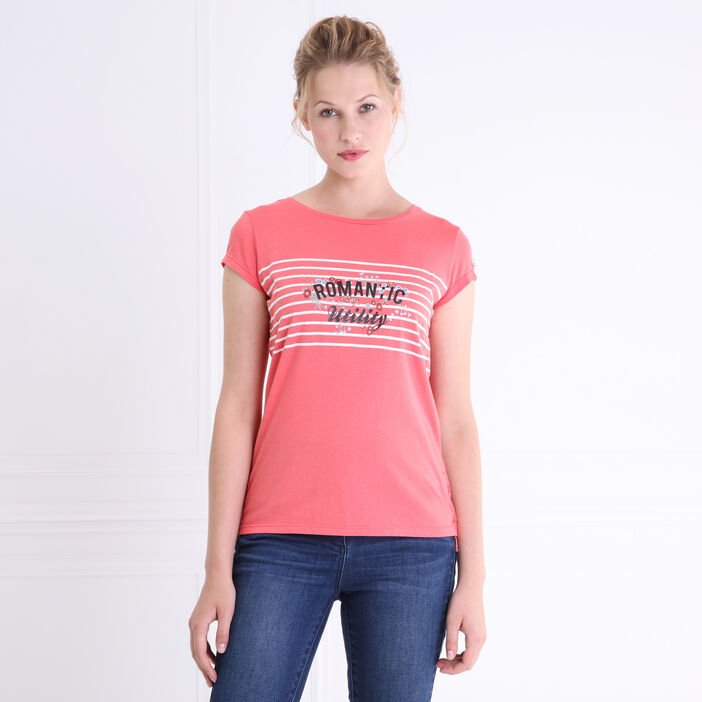 T-shirt col rond rayures et message rose corail femme