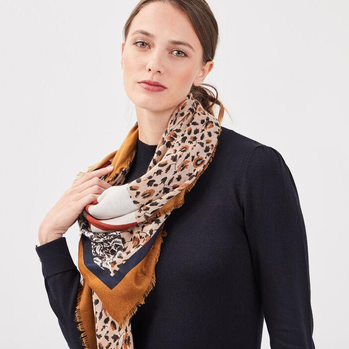 Foulard carré marron clair femme