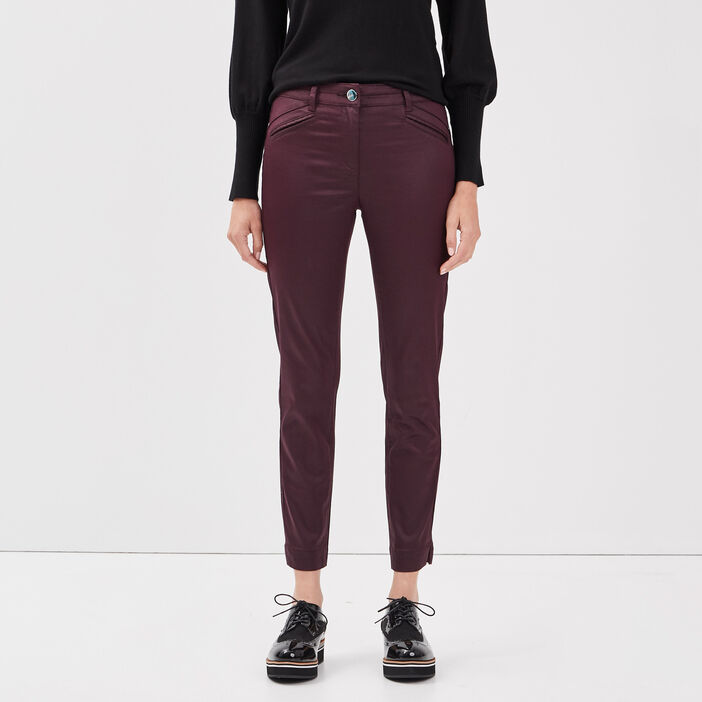 Pantalon ajusté enduit violet foncé femme