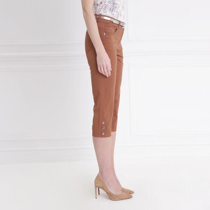 Pantacourt corsaire ajusté marron clair femme