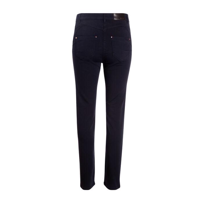 Pantalon ajusté bande brodée bleu foncé femme