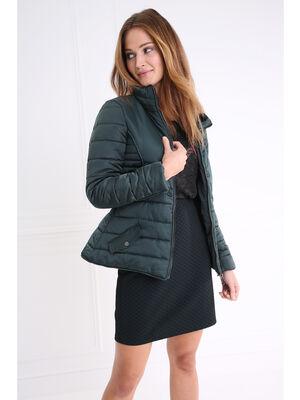 Doudoune courte ceinturee vert canard femme