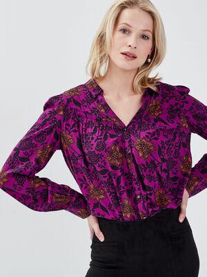 Chemise manches longues violet femme