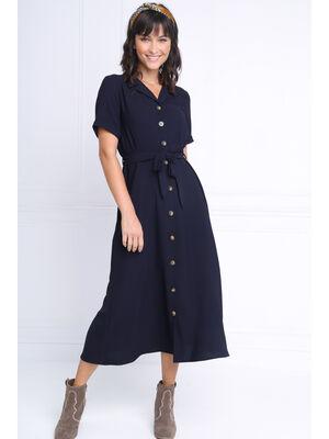 Robe chemise longue a ceinture bleu marine femme