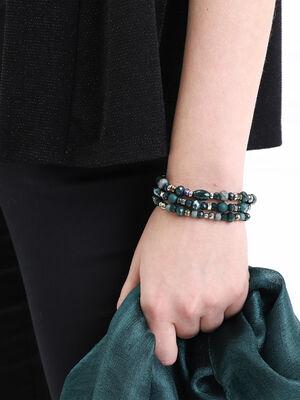 Lot 3 bracelets avec perles vert canard femme