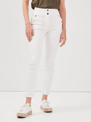 Pantalon ajuste a pont ecru femme