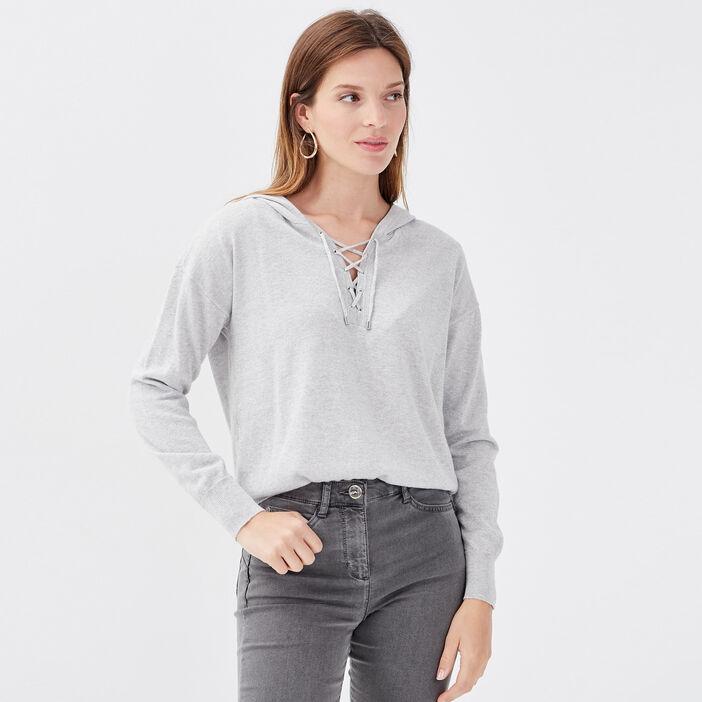 Pull manches longues à capuche gris clair femme