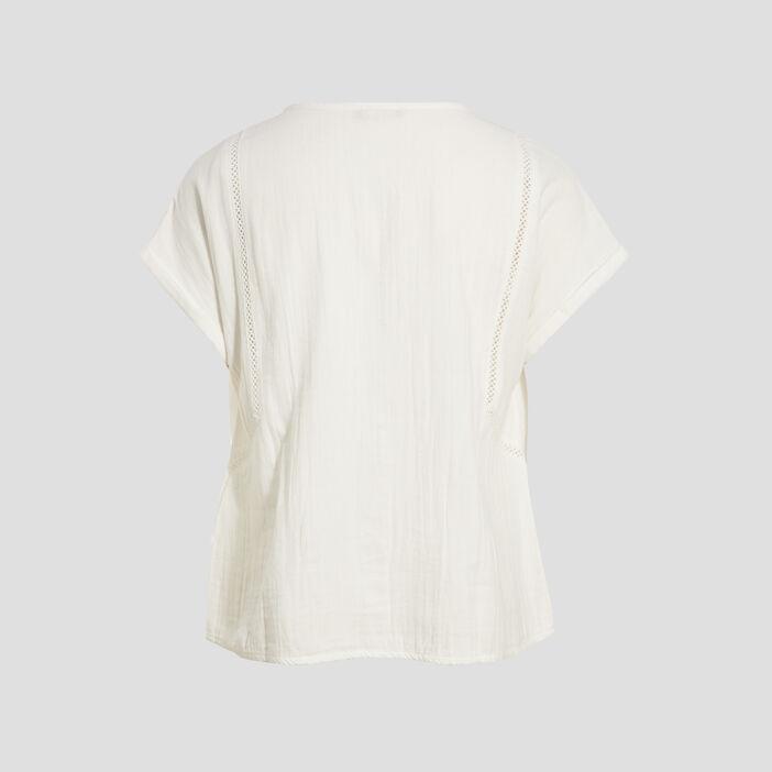 Chemise manches courtes ecru femme