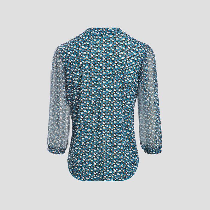 T-shirt manches 3/4 bleu turquoise femme