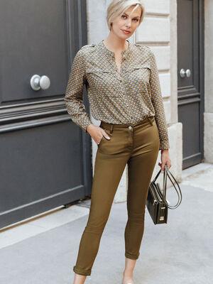 Pantalon chino ajuste vert kaki femme