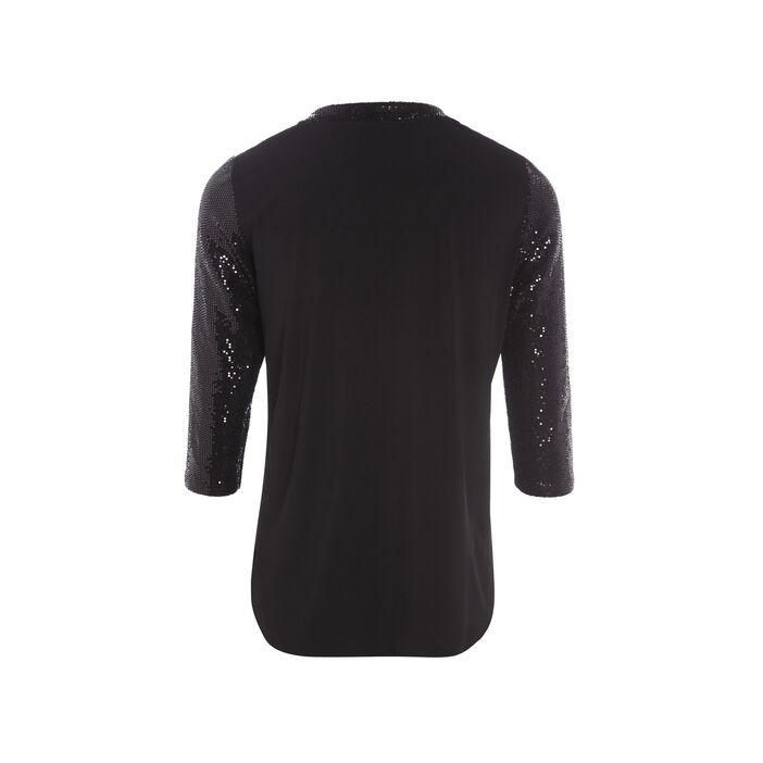 T-shirt manches 3/4 à sequins noir femme