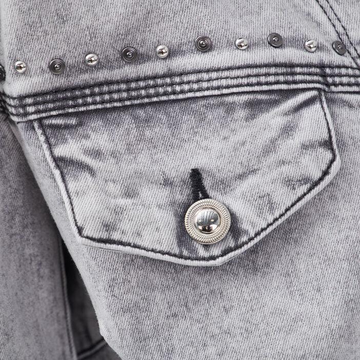 Veste droite en jean denim snow gris femme