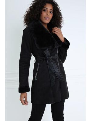 Manteau ajuste col fourrure synthetique noir femme
