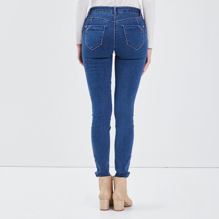 Jean slim taille basculée denim stone femme