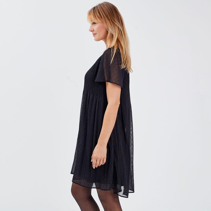 Robe évasée plissée noir femme
