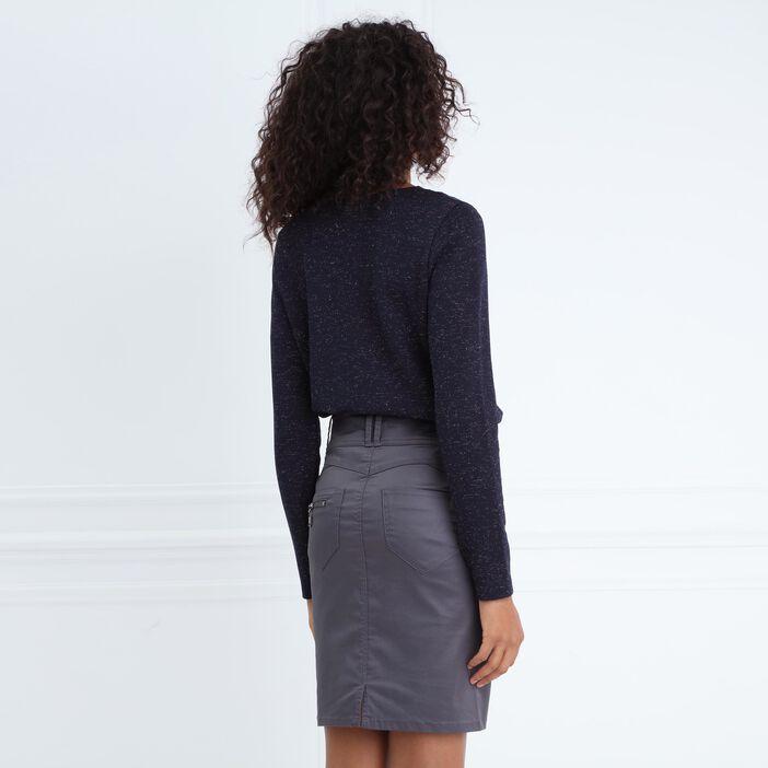 T-shirt col rond irisé détails dentelle gris foncé femme