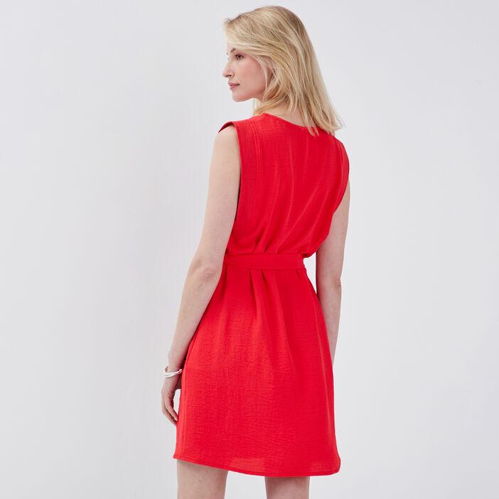 Robe droite ceinturée rouge femme