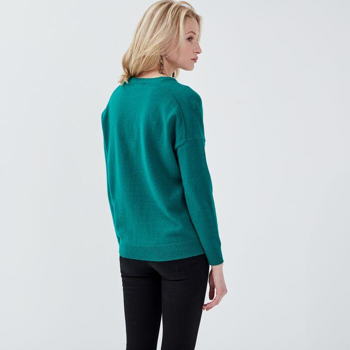 Pull manches longues vert émeraude femme