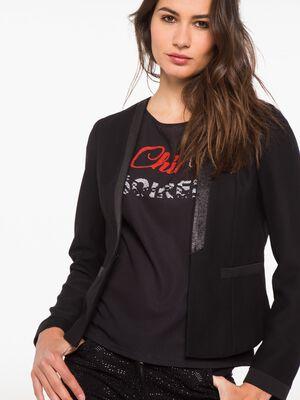 Veste de tailleur avec col a sequins noir femme