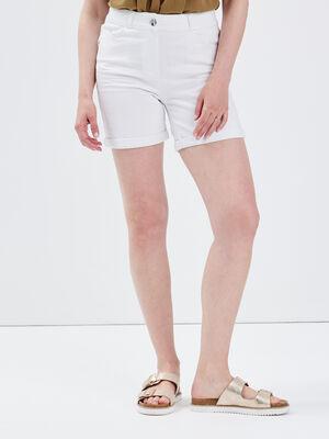Short droit en jean blanc femme