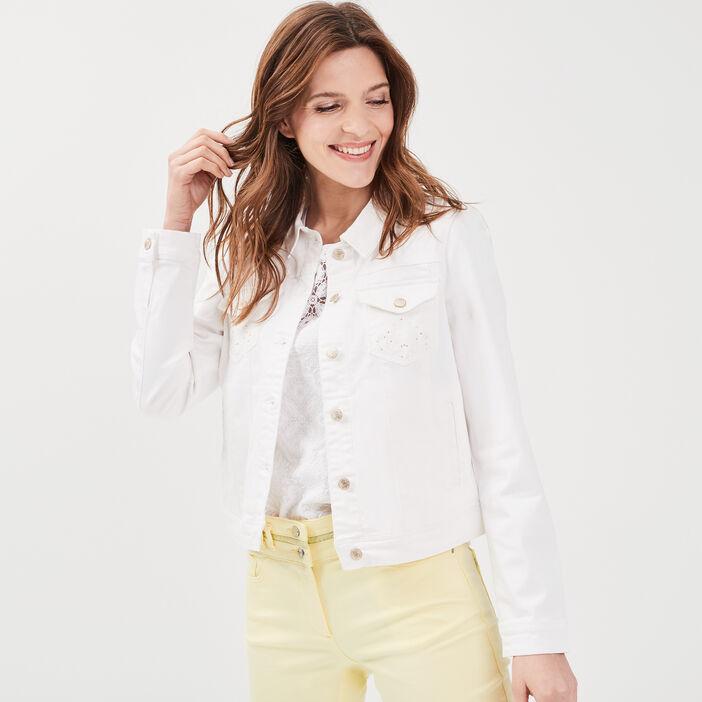 Veste droite boutonnée ecru femme
