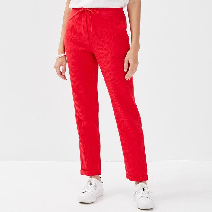Pantalon flou taille standard rouge femme