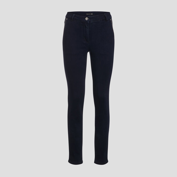 Pantalon ajusté denim brut femme