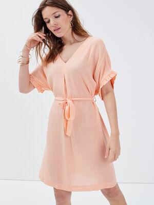 Robe droite fluide ceinturee rose clair femme