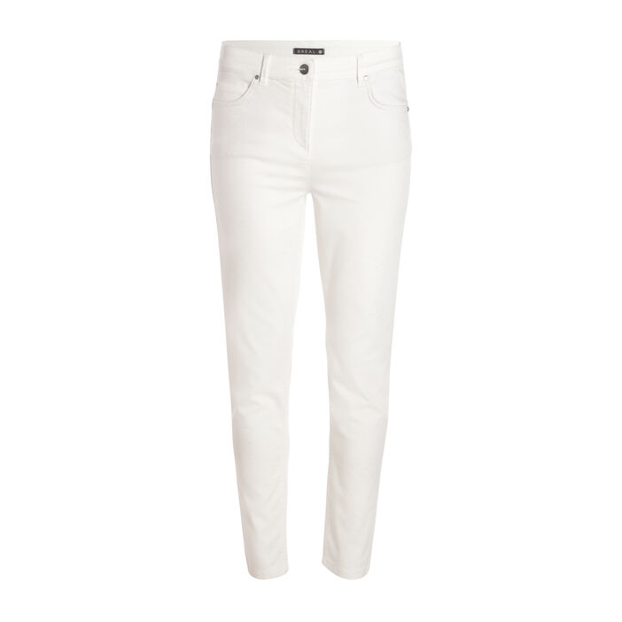 Pantalon taille standard ajusté ecru femme