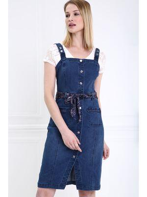 Robe cintree boutonnee en jean denim stone femme