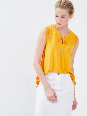 Debardeur bretelles larges jaune or femme