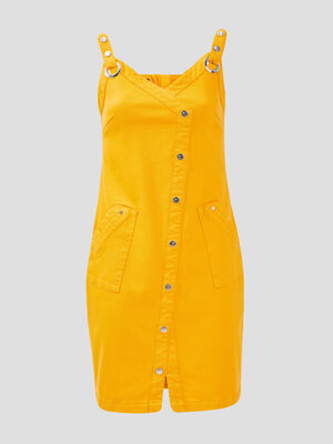 Robe ajustee a bretelles jaune or femme