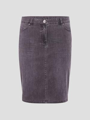 Jupe droite en jean gris femme