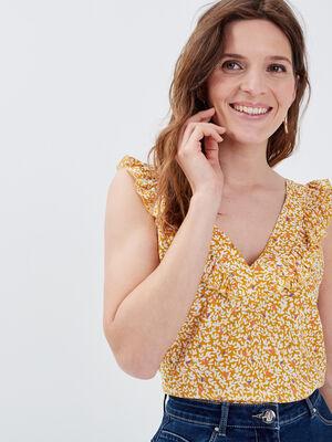 Blouse sans manches jaune femme