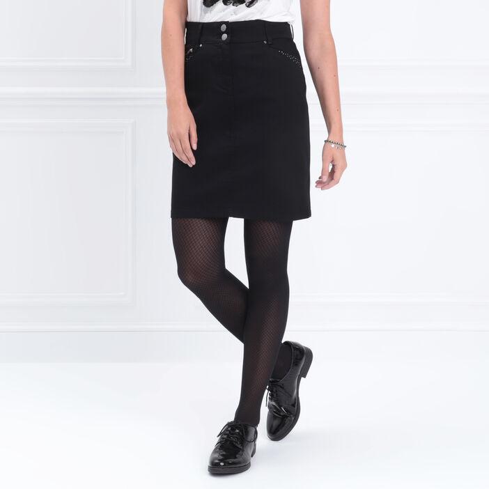 Jupe droite avec strass noir femme