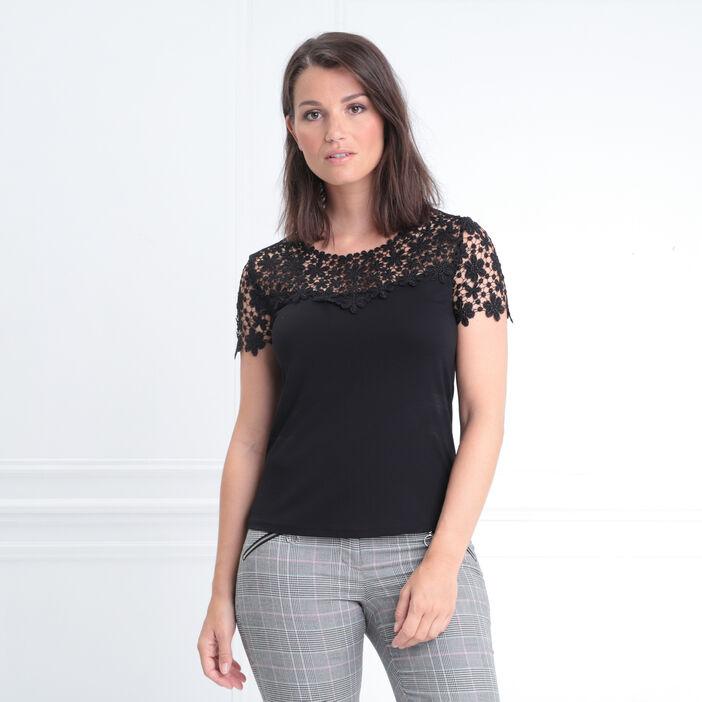 T-shirt col rond avec macramé noir femme