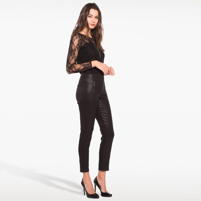 Pantalon brillant esprit tregging noir femme