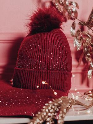 Lot bonnet et echarpe strass rose framboise femme