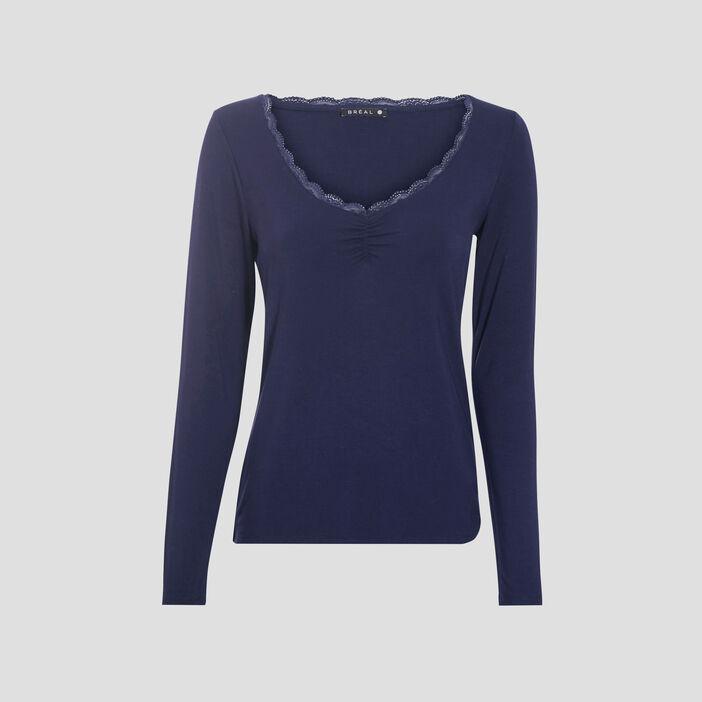 T-shirt manches longues bleu marine femme