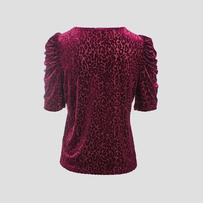 T-shirt manches 3/4 rose framboise femme