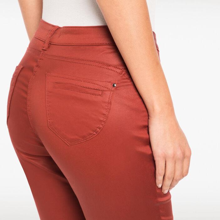 Pantalon enduit 7/8ème marron foncé femme
