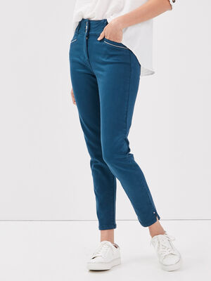 Pantalon ajuste taille haute bleu petrole femme