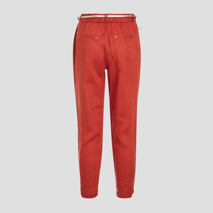 Pantalon chino taille standard orange foncé femme
